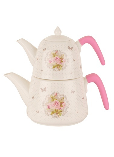 Porselen Butterfly Pink Rose Çaydanlık Takımı-Tantitoni